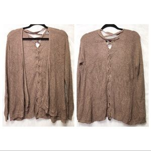 Charlotte Russe Brown Lace Up open front cardigan